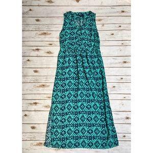 Gap Outlet navy and aqua tribal print maxi dress